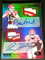 /5 PATRICK MAHOMES II RC AUTO *SSP GREEN REFRACTOR ROOKIE *2017 Panini Illusions