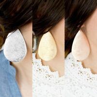 Women Modern Large Metallic Teardrop Earrings Drop Dangle Ear Stud Jewelry Gift