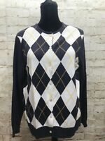 LANDS END Womens Size Large Button Down Argyle Blue Cardigan Sweater GUC