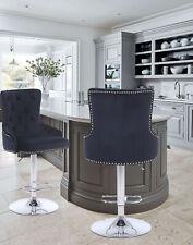 CGC Black Velvet Chrome Stud Button Back Chaise Adjustable Bar Stool Tall Chair
