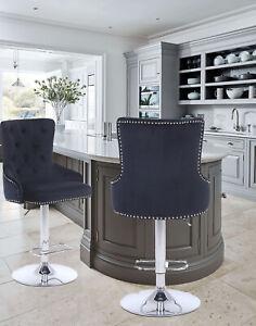CGC Black Velvet Chrome Stud Button Retro Chaise Adjustable Bar Stool Tall Chair