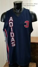 New listing Adidas Basketball Stitched Practice Jersey #3 Red White Blue Mesh Tank Jersey MD