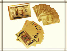 24K Gold Foil Plated Cover Poker Stylish Waterproof 54 Playing Cards Table Games