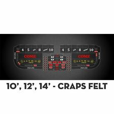 2 Professional Craps Black Digital 10' Table Layout Felt & Water Stain Resistant