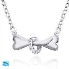 5Beautiful Ladies & Girls Sterling Silver Bone & Ring Chain Necklace Real S/F