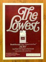 1981 Now Cigarettes The Lowest Vintage Print Ad/Poster Pop Art Man Cave Decor