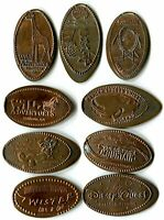 Collection Of Nine Different Retired Pressed Pennies Team Mickey, Disney Quest
