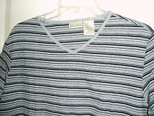 Bobbie Brooks Striped V-Neck T-Shirt Top  XL X Large Stretch EUC! - FREE SHIP!