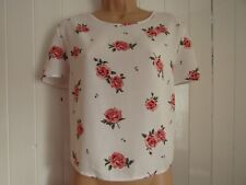 H & M Divided Rose Floral Print Short Sleeved Boxy Oversized Top - Size 12