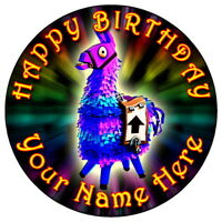 """FORTNITE LLAMA FUN PARTY - 7.5"""" PERSONALISED ROUND EDIBLE ICING CAKE TOPPER (4)"""