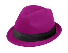 Ladies Wool Felt Fedora Hat - Fuchsia