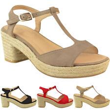 Womens Ladies High Mid Heel Platform Flatform Sandals Wedge Ankle Strap Size