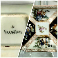 """Antique Dresden Small Square Dish Trinket Tray 2.5"""" Courting Couples Germany"""