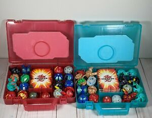 Bakugan Battle Brawlers Lot With 2 Cases Red Blue 36 Bakugan 29 Magnetic Cards