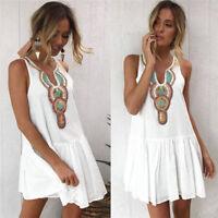 Women Dress Tank Top Sleeveless Scoop Neck Solid Cotton Shirt Mini Beach Dress