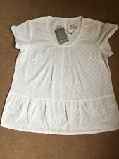 MISTRAL Dreamy Dora Frill White Embroidery Anglaise Cotton Top - Size 10 - BNWT