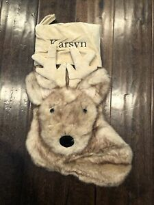 NWOT Pottery Barn Faux Fur Reindeer deer soft Christmas Stocking  Mono Karsyn