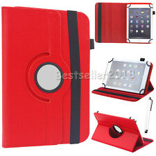 """For 7"""" 8"""" 10"""" Android Tablets PC 360° Rotating Universal Leather Case Cover +Pen"""