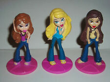 """BRATZ LOT OF THREE 3"""" TOY FIGURE CAKE TOPPERS"""