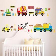 Cartoon Crane Truck Colorful Wall Sticker Transport Nursery Decor AD
