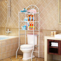 White 3 Shelf Over Bathroom Toilet Storage Rack Laundry Shelf Unit Organizer UK