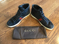 Authentic Gucci Men's Suede High-top Sneaker Brb Leather Web Detail 337221 9.5G