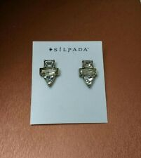 New Silpada Crystal Clear Deco Style Stud Earrings NEW