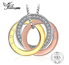 0.1CT CUBIC ZIRCONIA THREE RINGS WINDING YOU AND ME PENDANT NECKLACE