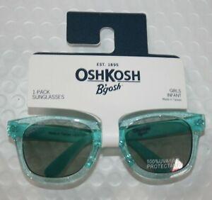 New OshKosh Girls Sunglasses 1 2 yr 0-24m 100% UVA-UVB Clear Green Glitter