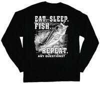 long sleeve t-shirt for men eat sleep fish repeat funny fishing t-shirt bass