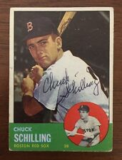 CHUCK SCHILILNG 1962 TOPPS AUTOGRAPHED SIGNED AUTO BASEBALL CARD 52 RED SOX