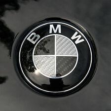 (US SELLER) BMW Black/Grey Carbon Fiber Emblem Badge 82mm Front Hood/ Rear Trunk