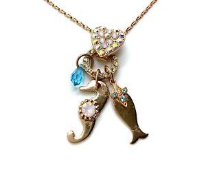 Mariana Pendant Heart, Sea Horse & Fish Charms Pearl, Opal, AB, Jonquil & Zir...