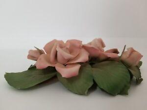 Franklin Mint Porcelain Rose Capodimonte Pink Roses Cecile Brunner