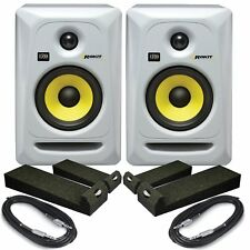 Rokit RP5 G3 White (Pair) With Isolation Pads & Cables