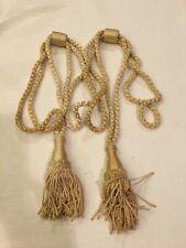 New listing 2 Vintage Beige/Cream/Off-White Rope Drapery Curtain Tiebacks W/Large Tassels