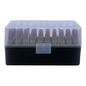 BERRY'S PLASTIC AMMO BOX, CLEAR/BLACK 50 ROUND 223 / 5.56 - BUY 5 GET 1 FREE