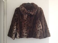 Stunning Ladies Kenar Brown Fur Animal Print 3/4 Sleeves Cropped Coat - Size 14