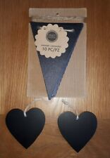 Chalkboard Wooden Bunting Wedding Venue Decoration 10 Flags+ 2 wooden hearts NEW