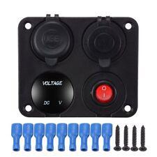 4in1 6-24V LED Voltmeter Dual USB Car Charger Switch Cigarette Lighter+Panel Red