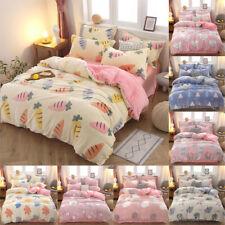 Soft Warm Flannel Bedding Set Flat Sheet Pillow Case Quilt Duvet Cover Sets New