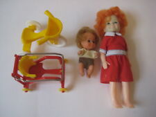 vtg Doll Lot 1973 Sunshine Family baby 1982 Annie stroller Weeble tricycle house