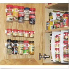 Kitchen Cabinet Door Spice Rack Organizer Cupboard Wall Mount Storage 20 Clips