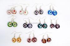 FREE Wholesale Lots 6pai Flower Handmade Glass Bead Silver Plated Charm Earrings