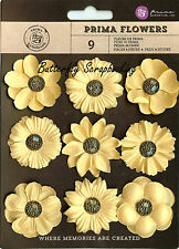 GOLD Prima Flowers 9 Flowers Luminous Collection Scrapbooking PRIMA 574666 NEW