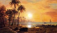 Handpainted art Oil painting Tropical Landscape with Fishing Boats sunset view
