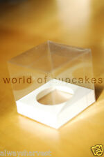 Single Clear Plastic Cupcake Cup Cake Boxes Box White Insert Wedding Set of 50