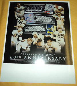 """11""""x 14"""" Cleveland Browns 60 th Anniversary Poster board"""