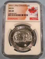 2016 CANADA $8 SILVER MAPLE LEAF BISON NGC MS 69 S$8 1.25 1 1/4 OZ SILVER
