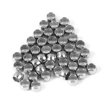 100 Perles à écraser Rondes Baril 2mm Acier Inoxydable 304